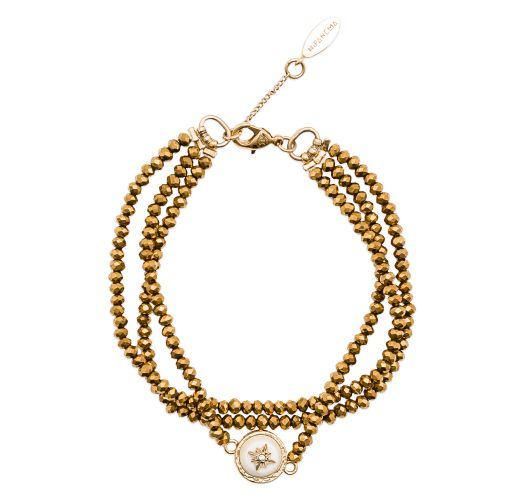 Multi-row bracelet gold-coloured beads, cabochon - HIPANEMA CELESTINE GOLD