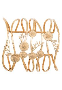 Stylised floral cuff made of golden metal - HIPANEMA CHACHA GOLD