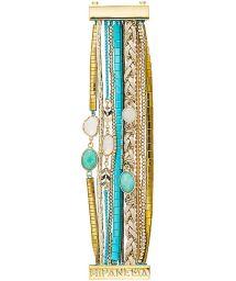 Sky blue/gold beaded multi-row cuff bracelet - HIPANEMA CHAMADE