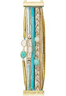צמיד רחב מסוג מנצ&#39ט עם שורות פנינים בצבע תכלת/מוזהב - HIPANEMA CHAMADE