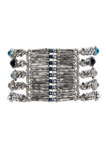 Manchette en chaînes argentées et pierres bleues - HIPANEMA CONDOR NAVY
