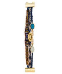 Sea blue/golden pearl bracelet with charm - HIPANEMA COSY LINK