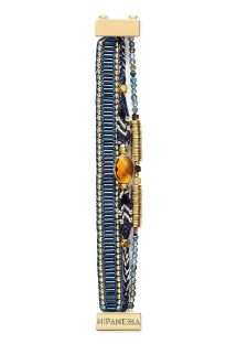 Small bracelet in midnight blue/gold-coloured beads and crystal - HIPANEMA DIVA MINI