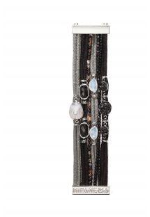Черно-серый браслет-манжета из шнуров, с камнями - HIPANEMA DRAKAR
