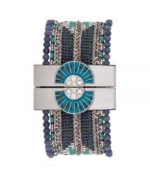 Blue/silver-coloured bead cuff jewel clasp - HIPANEMA ETERNITY NAVY