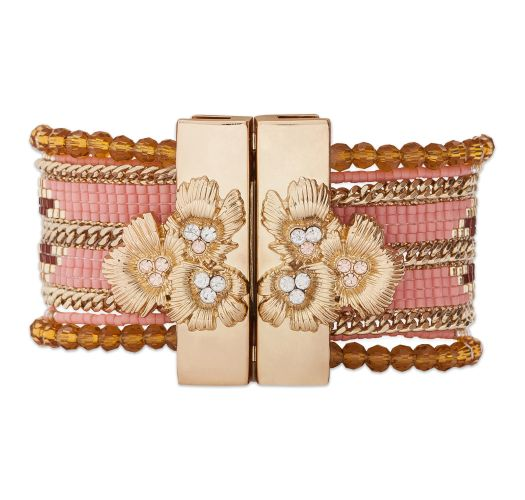 Pink/gold-coloured bead cuff jewel clasp - HIPANEMA ETERNITY PINK