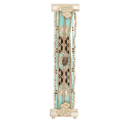 Turquoise/gold-coloured bead cuff jewel clasp - HIPANEMA ETERNITY TURQUOISE