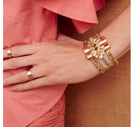 White/gold-coloured bead cuffjewelclasp - HIPANEMA ETERNITY WHITE