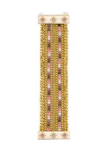 Gold chain bracelet with beads and jewelled clasp - HIPANEMA EVY TWIN