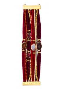 Deep red cuff with cord laces and stones - HIPANEMA GARNET