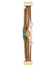 Pearl and stone bracelet, gold medallion - HIPANEMA GILDA LINK