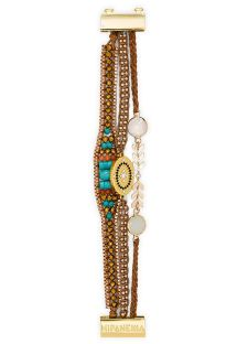 Pearl and stone bracelet, gold medallion - HIPANEMA GILDA LINK
