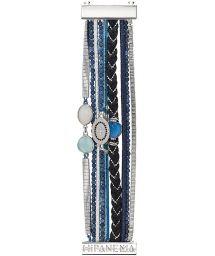 Multi-row cuff bracelet with blue/silver beads - HIPANEMA IDYLLE