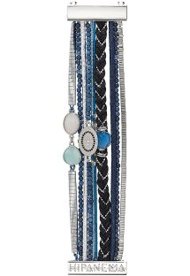 Multi-row cuff bracelet with blue/silver beads - HIPANEMA IDYLLE