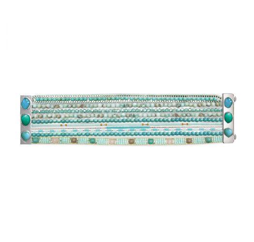 Blue/green bead bracelet with stones - HIPANEMA JADE