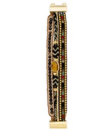 Golden/amber pearl multi-band bracelet - HIPANEMA KHOL MINI