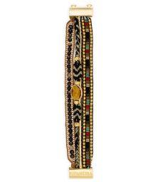 Golden/amber pearl multi-band bracelet - HIPANEMA KHOL MINI