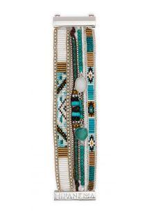 צמיד מעוטר בפנינים בצבע טורקיז/מוכסף ואבנים - HIPANEMA LAGUNE