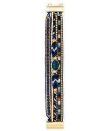 Dark blue/golden multi-band pearl bracelet - HIPANEMA LAPIS MINI