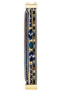 Dark blue/golden multi-band pearl bracelet - HIPANEMA LAPIS MINI