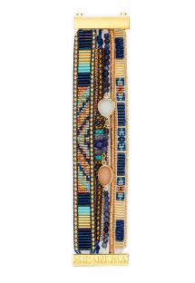 Cuff in blue/gold-coloured beads and stones - HIPANEMA LAZULI