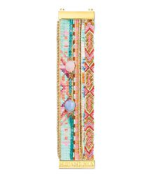 Bracelet with pink and blue beads, threads and crystals - HIPANEMA MAGNOLIA