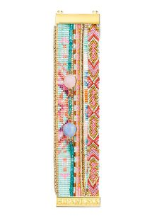 Manchette perles, fils, cristaux bleu et rose - HIPANEMA MAGNOLIA