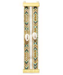 Bracelet with gold-coloured beads, threads and shells - HIPANEMA MIA TWIN