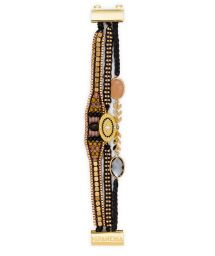 Black/golden pearl bracelet with medallion - HIPANEMA MILLIE LINK