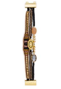 Black/golden pearl bracelet with medallion - HIPANEMA MILLIE LINK