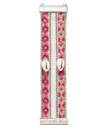 Beaded bracelet featuring pink threads and shell - HIPANEMA NALA TWIN