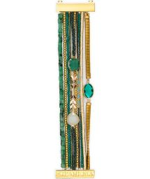 Green/gold bead and stone cuff - HIPANEMA NARCISSE