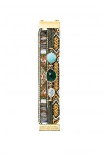 Kaki Armband mit Perlen, Fäden und goldenem Verschluss - HIPANEMA NASHVILLE