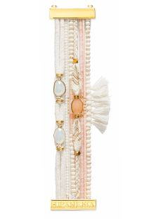 Bracelet featuring white and pink beads, threads and tassels - HIPANEMA PANDORE