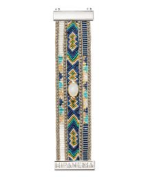 Blue bracelet with beads, threads and white crystal - HIPANEMA PHILA TWIN