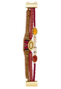 Red/golden pearl bracelet with medallion - HIPANEMA PIPA LINK