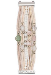 Powder pink bracelet with cord laces and stones - HIPANEMA PURE