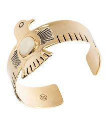 Rigid gold-coloured cuff with bird and stone - HIPANEMA ROYAL GOLD
