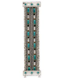 Silver chain/beaded bracelet with jewelled clasp - HIPANEMA SAMY TWIN