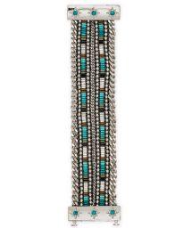 Silver chain/beaded bracelet with jewelled clasp - HIPANEMA SAMY TWIN