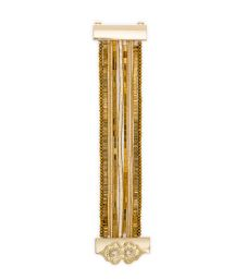 Gold beaded cuff with jewelled clasp - HIPANEMA SANTAFE GOLD