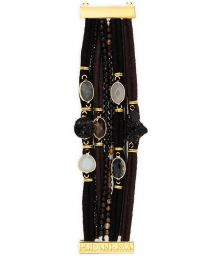 Bracelet with rows of cord laces and black stones - HIPANEMA SWAN