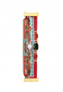 Red and blue cuff bracelet with beads and stones - HIPANEMA TANGO