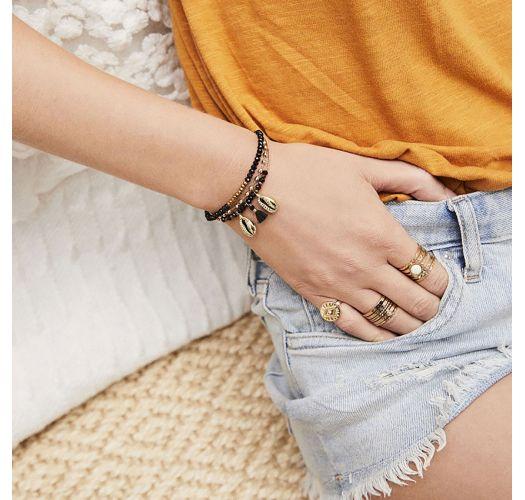 Bracelet noir/doré en perles, pompon et coquillages - MAHINA BLACK HIPANEMA