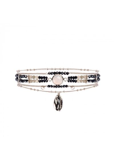 Multi-row bracelet with moonstone and shell - MAMBO BLACK HIPANEMA