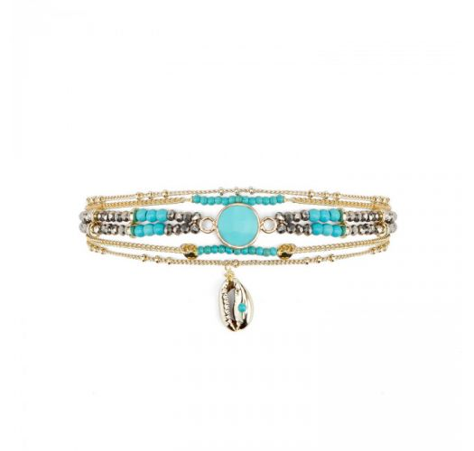 Multi-chain bracelet with turquoise stone and shell - MAMBO TURQUOISE HIPANEMA