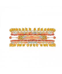 Manchette en perles tissées et pierres multicolores - PUEBLA CORAL HIPANEMA