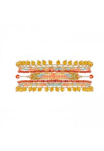 Woven cuff with pearls and multicolored stones - PUEBLA CORAL HIPANEMA