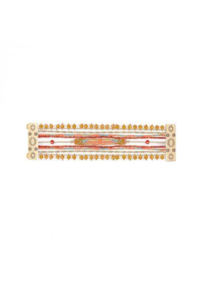 Woven cuff with pearls and multicolored stones - PUEBLA CORAL HIPANEMA