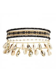 Black & golden cuff and with pearls and cowrie shells - SAMOA BLACK HIPANEMA